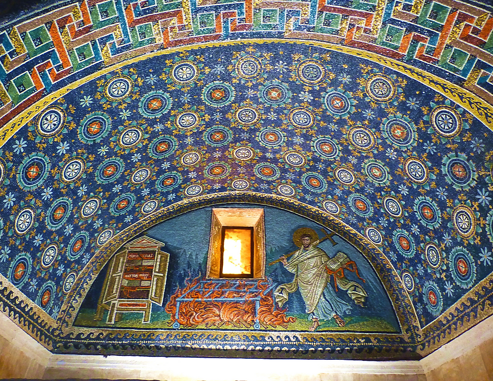 the beautiful starry ceiling of the Mausoleum of Galla Placidia in Ravenna