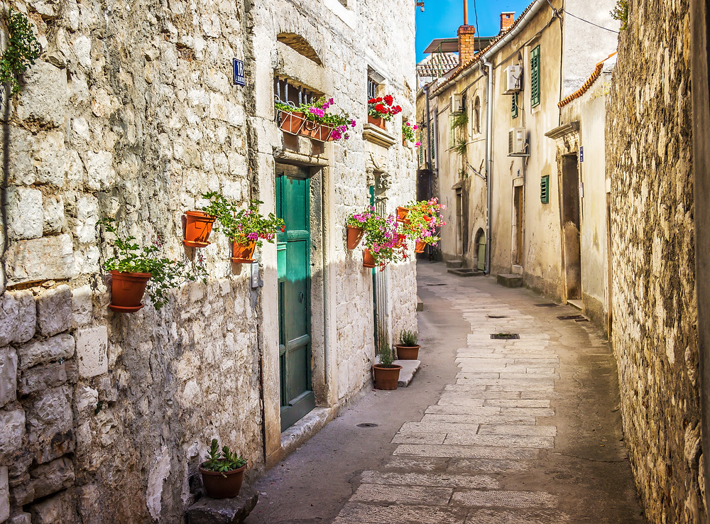 tiny medieval street in Sibenik Croatia