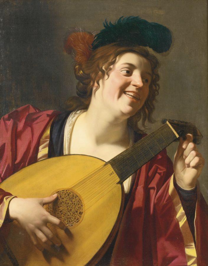 Gerrit van Honthorst, Woman Tuning a Lute, 1624