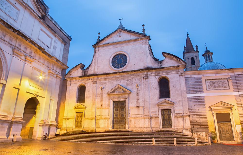 part of the facade of the Basilica of Santa Maria del Popolo
