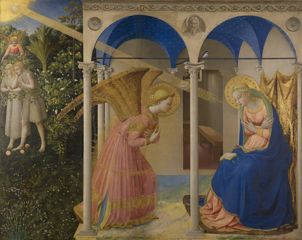 Fra Angelico, The Annunciation and Expulsion of Adam and Eve, 1435 -- once San Marco's altarpiece, now in the Prado