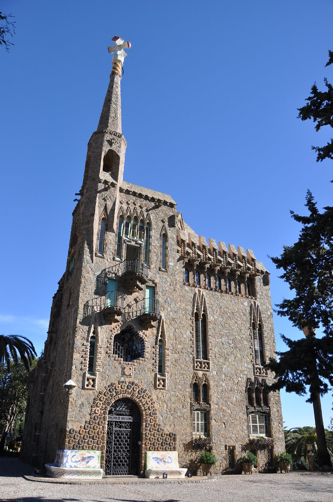 Gaudi's Torre Bellesguard in the Sarria neighborhood of Barcelona