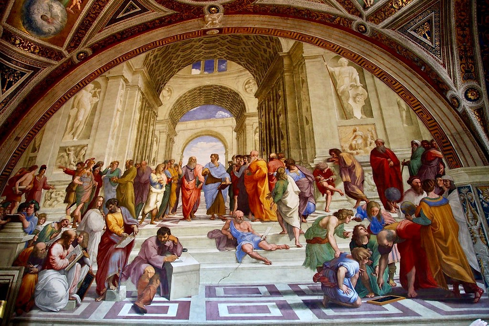 Raphael, School of Athens, 1509 -- in the Raphael Rooms of the Vatican Museums