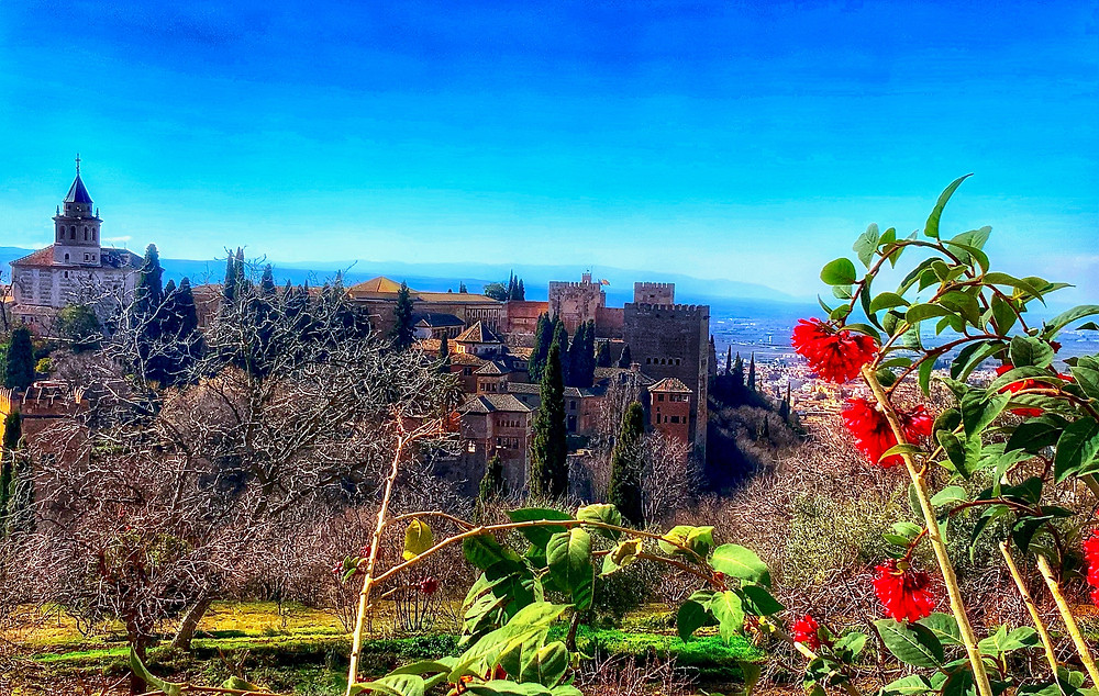 views of the Alhambra from the upper Renaissance gardens of the from the Generalife Palace