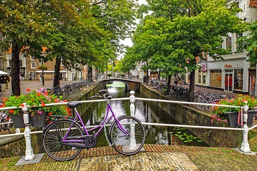 canal in Delft in the Netherlands