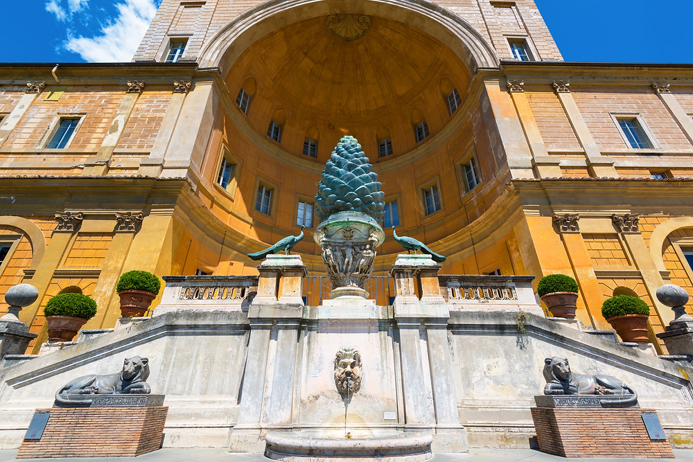 the Pine Cone Fountain, a landmark of the Vatican Museums