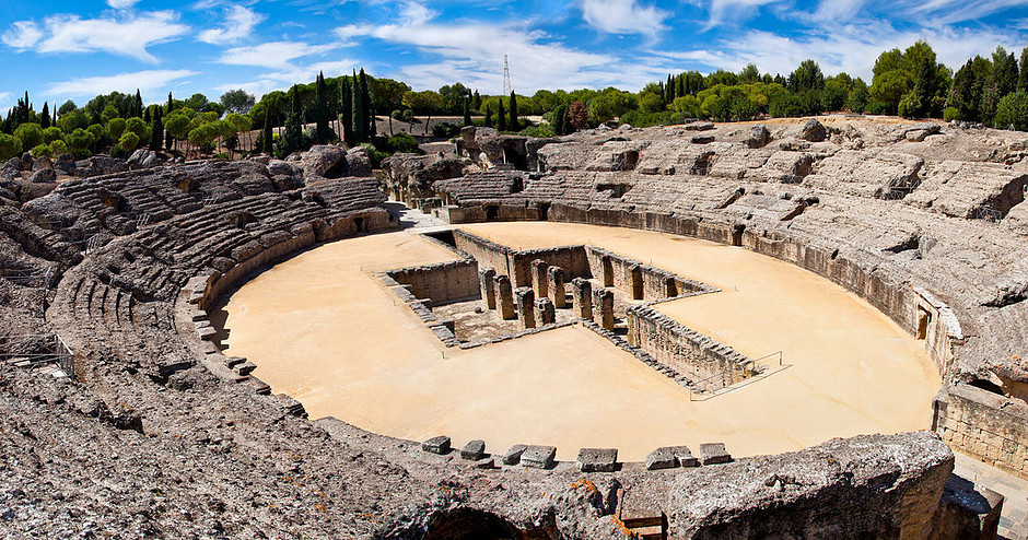 the ruins of Italica in Santiponce Spain, outside Seville