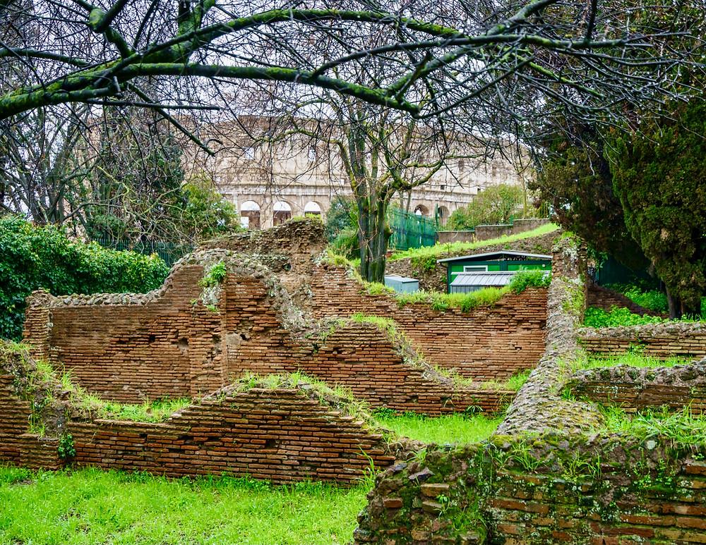 remains of ancient walls of Domus Aurea