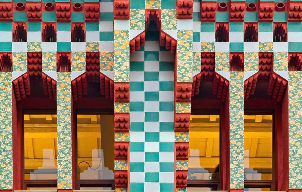 facade detail of Casa Vicens with marigold tiles