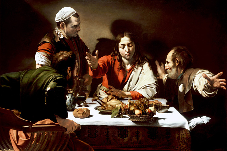 Caravaggio, detail of Supper at Emmaus, 1601 ( at the National Gallery of London)