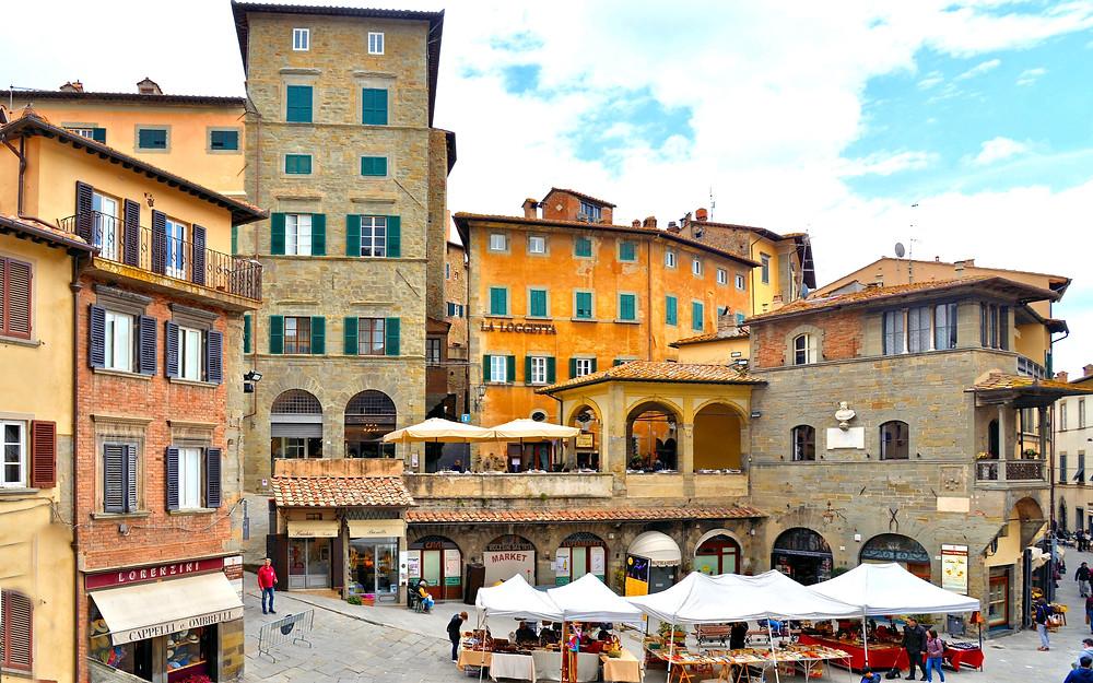 the Piazza dell Repubblica in Cortona Italy