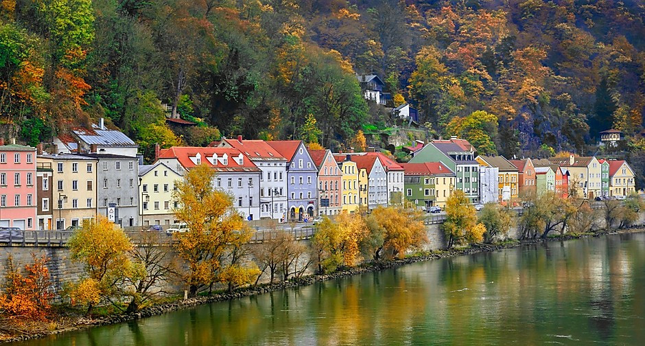 colorful houses lining the banks of the Danube River in Passau Germany