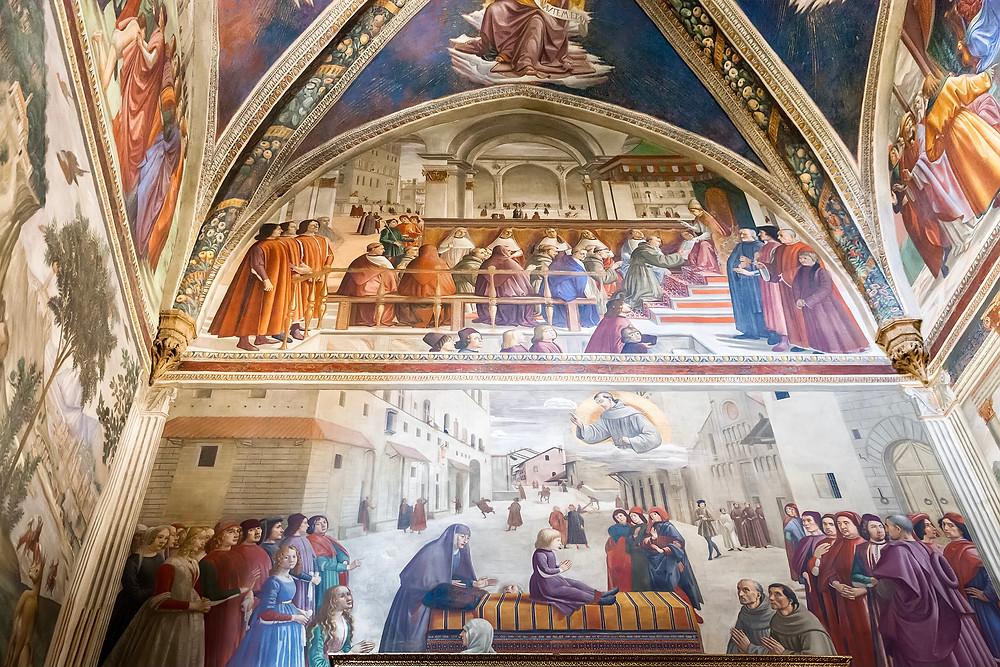Ghirlandaio frescos in the Sassetti Chapel of the Basilica of Santa Trinita