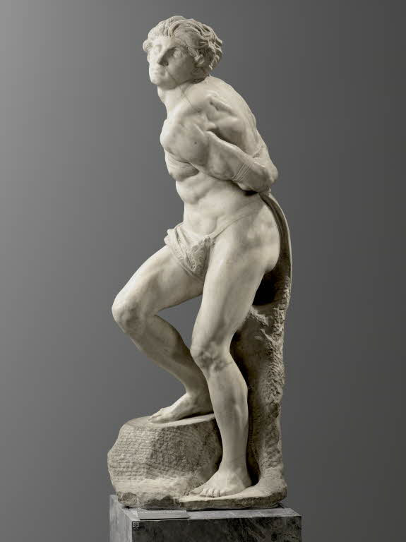Michelangelo, Rebellious Slave, 1513 -- originally intended for the tomb, now in the Louvre