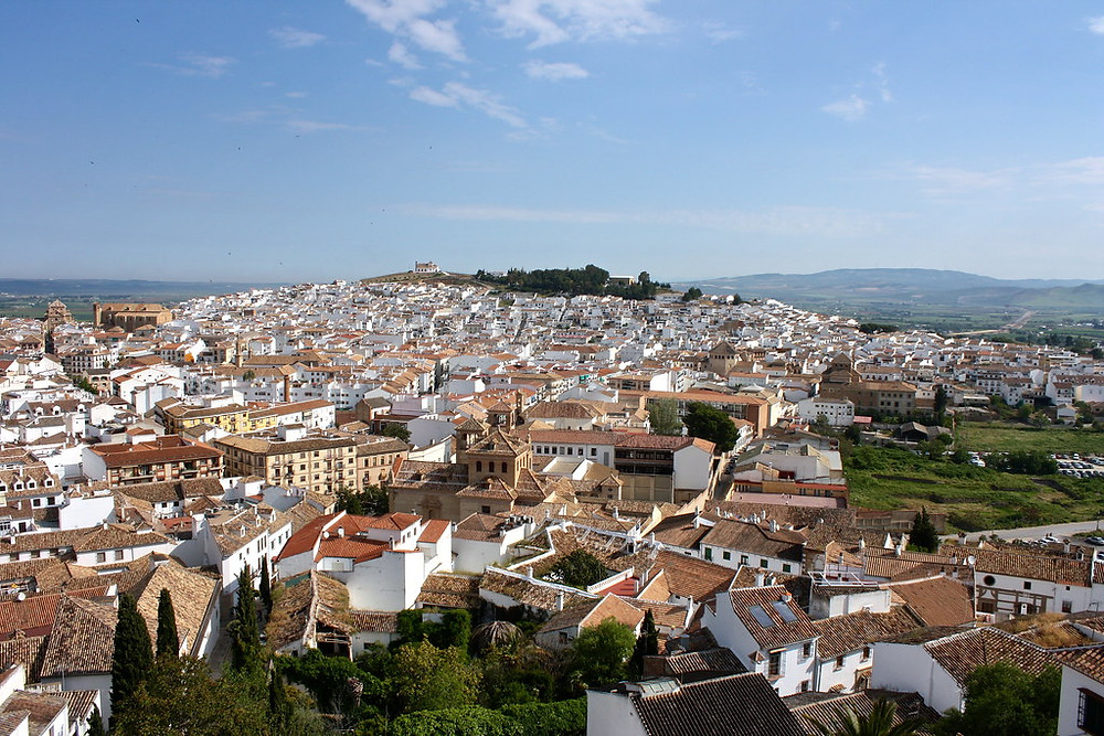 Antequera Spain, a magnificent white pueblo in Andalusia. Viewpoint from the Mirador de Antequera.