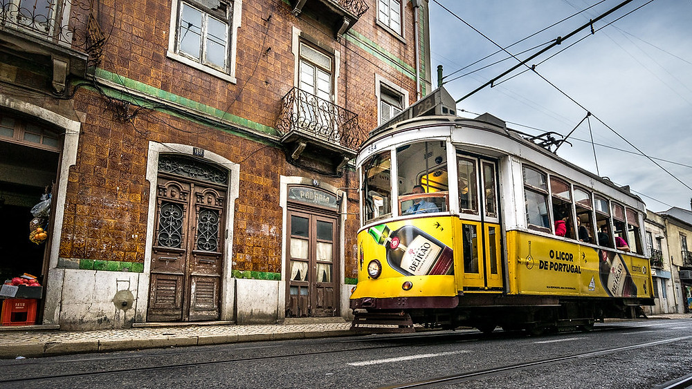 Tram 28 on its way through Lisbon