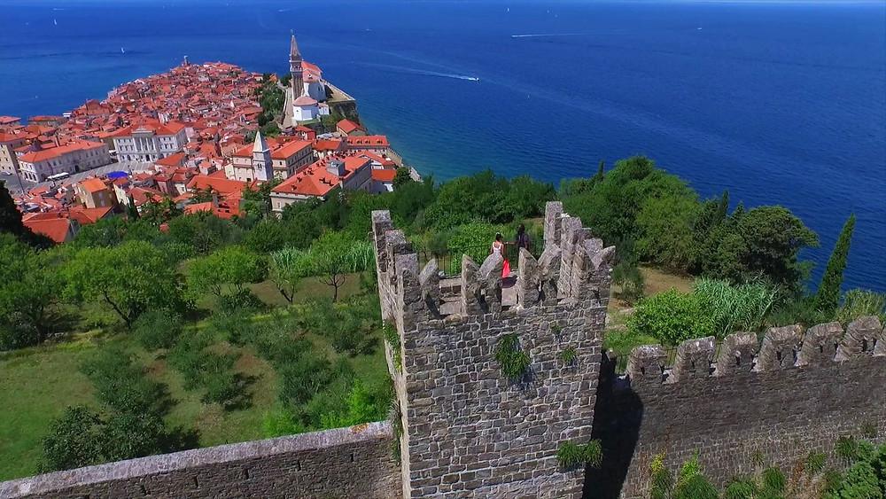 the Piran city walls and great views