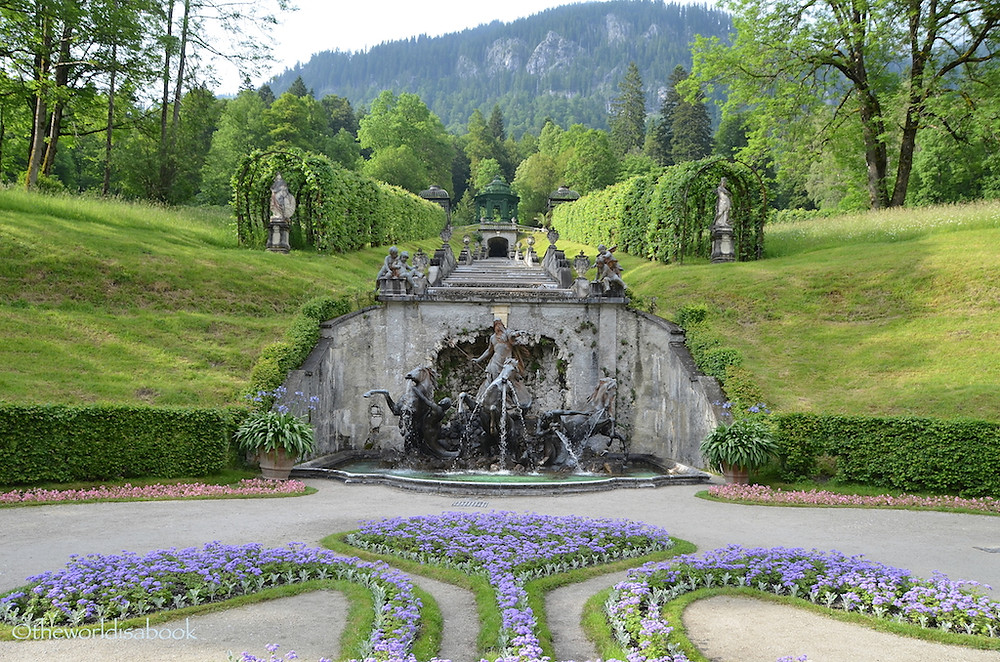 the Neptune Fountain in the Linderhof Palace Park
