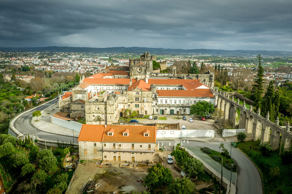 Aerial view of Tomar Convent of Christ and aqueduct near the Templar castle in Portuga