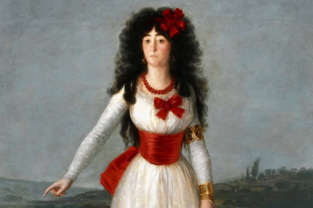 Goya, Portrait of the Duchess of Alba, 1795 -- There were rumors of an affair between the duchess of Goya, More likely, Goya was the one with the obsession. He kept a commissioned painting of the duchess at his house for 15 years.