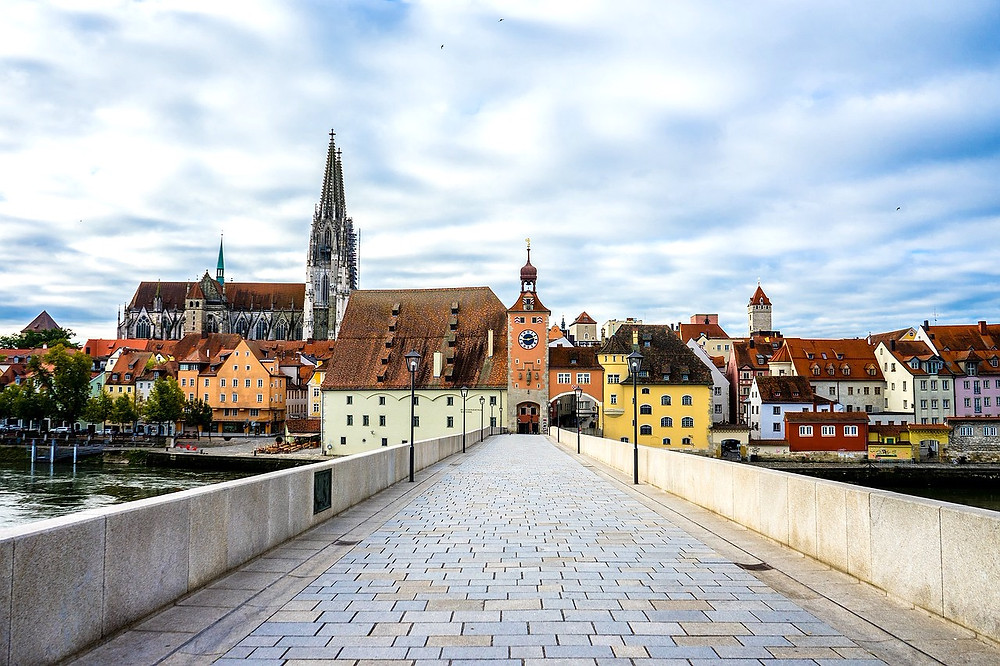 view of the entrance to Regensburg's old town from Stone Bridge