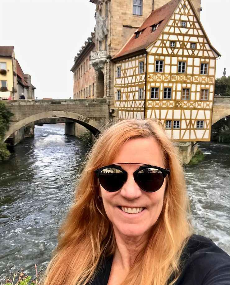 standing on Geyerworthsteg Bridge for the classic panorama of Bamberg's old town hall