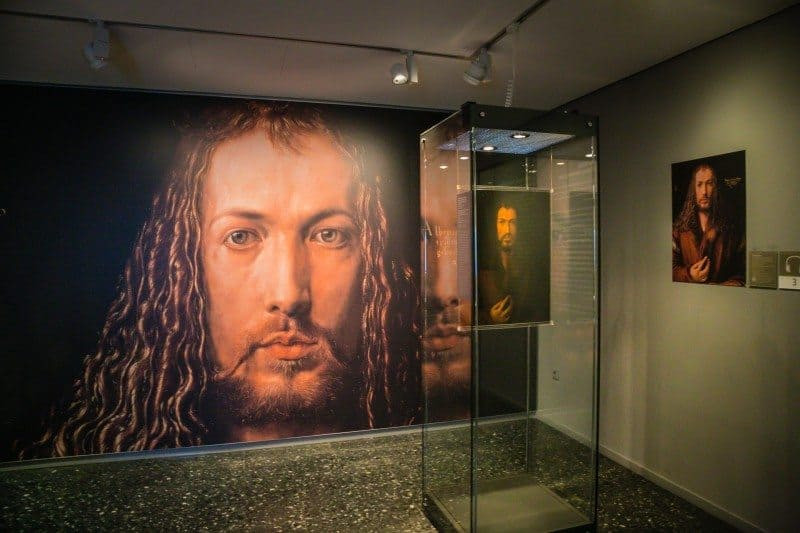 a massive enlargement of Durer's famous Self-Portrait -- psychological study or imitation of Christ?