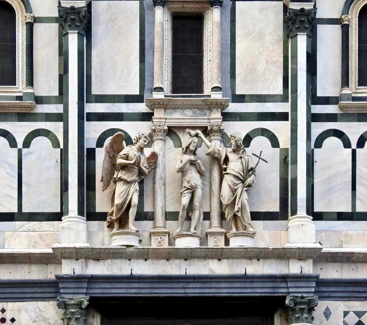 statues above the Gates of Paradise by Andrea Sansovino and Innocenzo Spinazzi