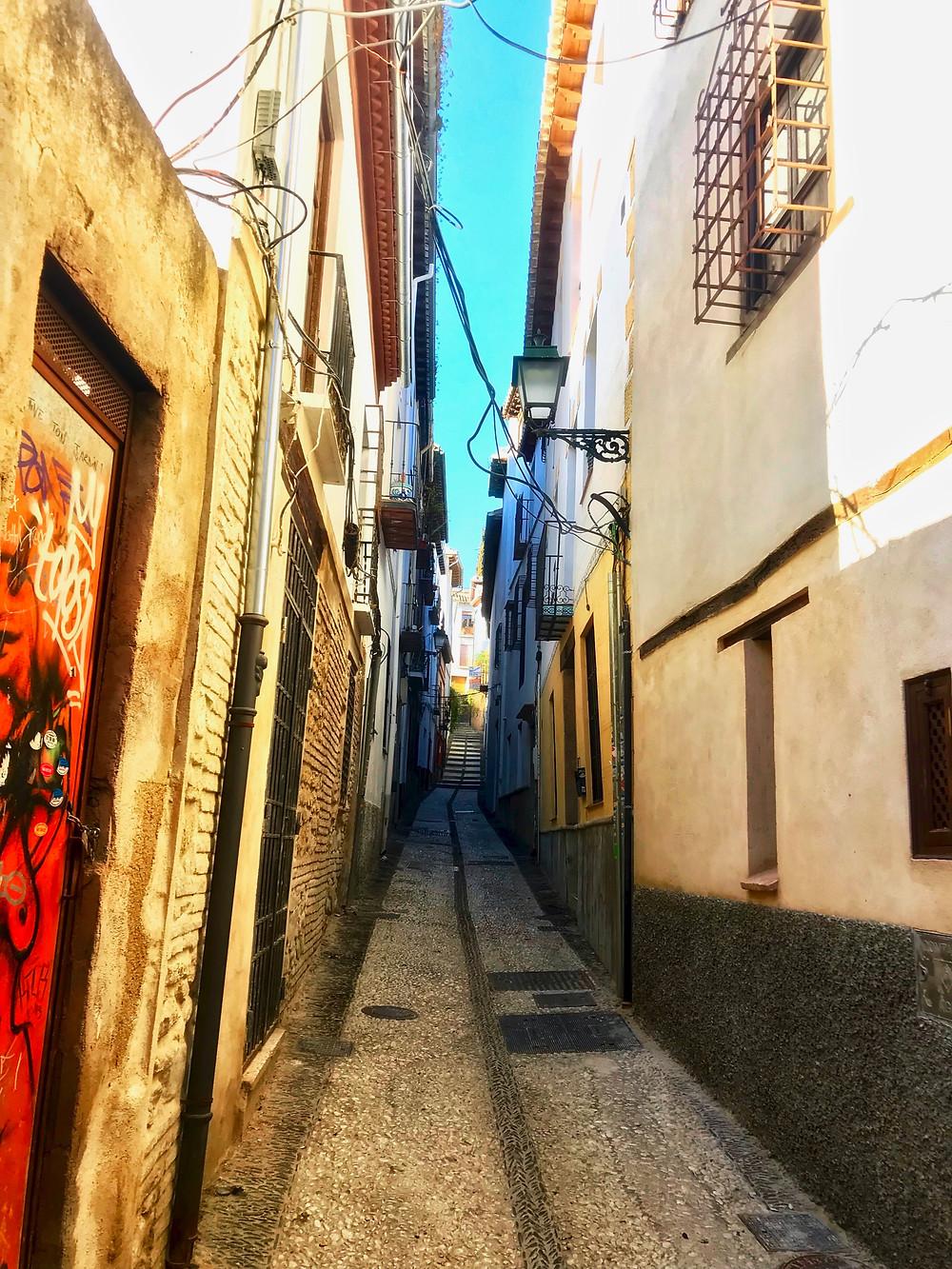 another tiny cobbled land in Granada's Albaicín neighborhood