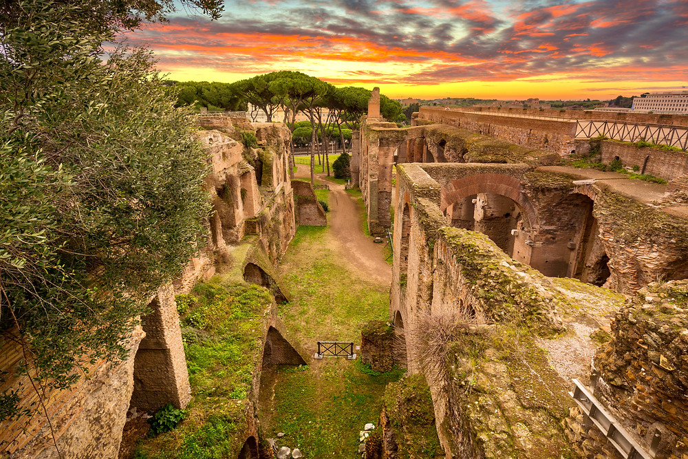 ruins of the House of Augustus on Palatine Hill