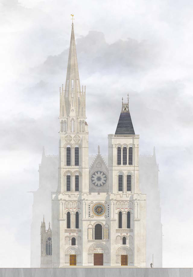 what the Basilica of St. Denis will look like with its north tower authentically restored