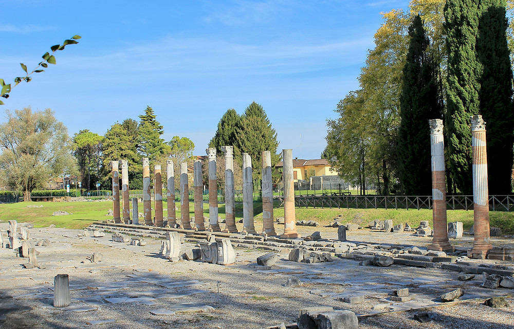remains of the Roman Forum in Aquileia, a UNESCO site in Italy