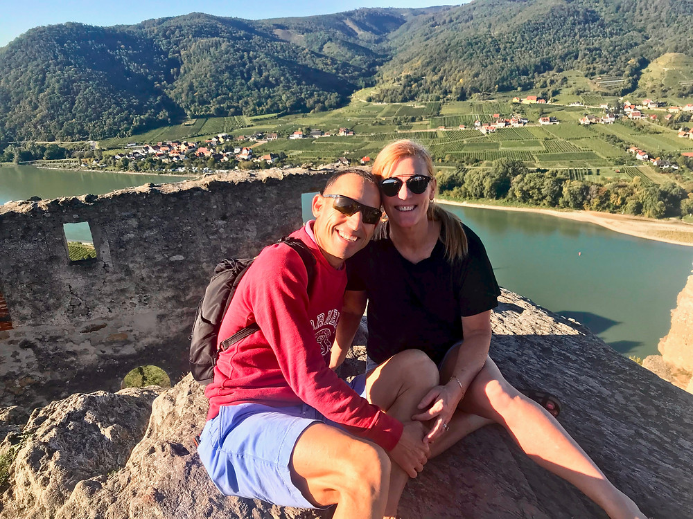the two of us atop the castle ruins in Dürnstein Austria