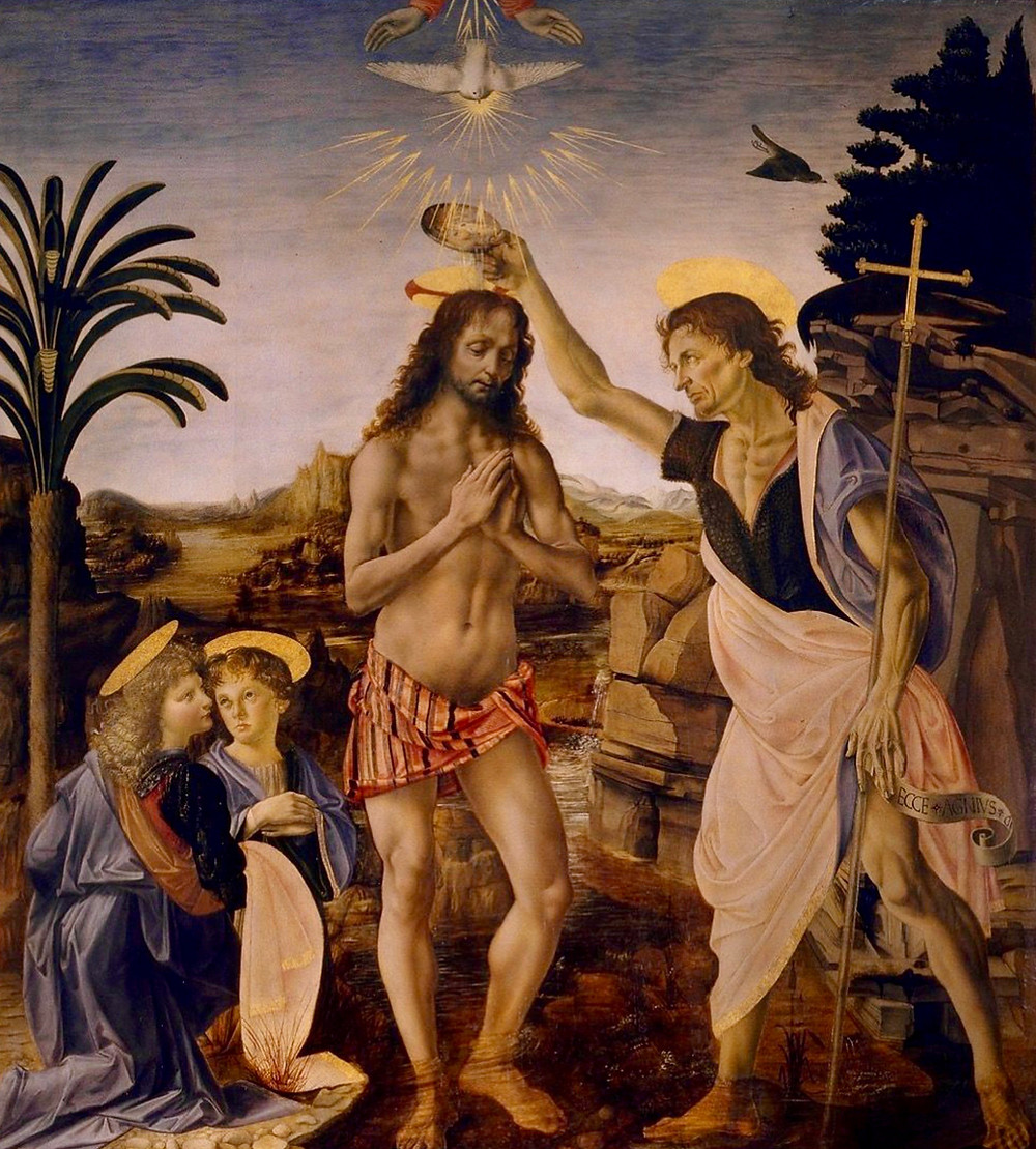 Andrea del Verrocchio, Baptism of Christ, 1475 -- with an angel painted by Leonardo on the left