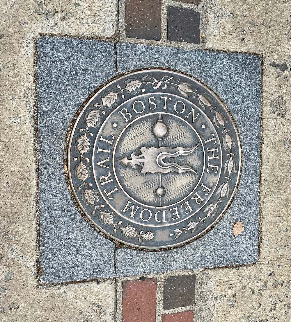 Freedom Trail marker at Copp's Burial Ground