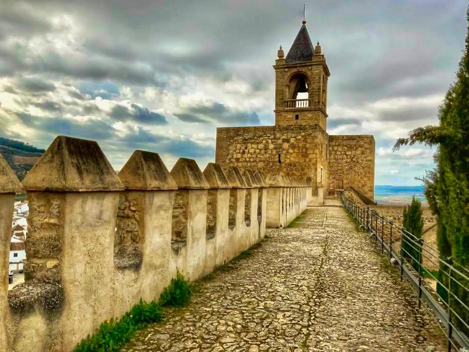 The Torre de Papabellotas, the belltower of the Alcazaba castle, built on the Torre de Homenaje.