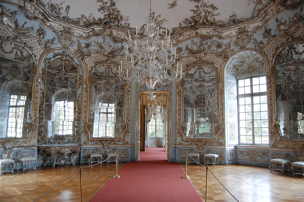 The Hall of Mirrors in Amalienburg, a hunting lodge in the Nymphenburg Palace Park