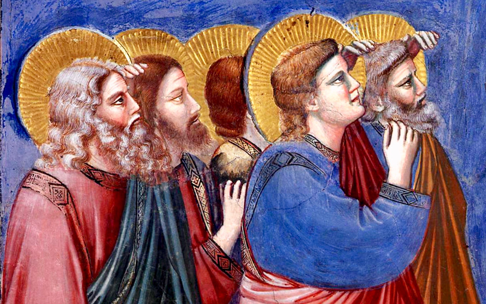 apostles gazing up at Jesus in the Ascension