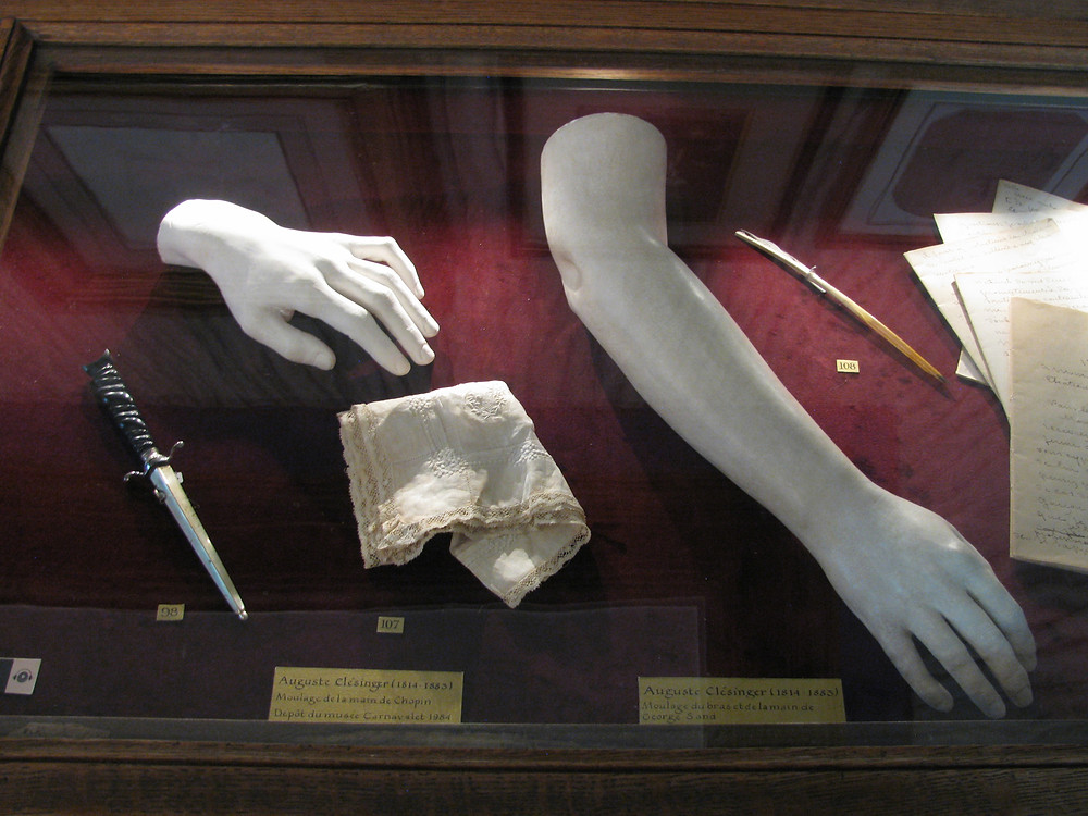 casts of the hand of Chopin and the arm of Sand on display at the Museum of the Romantic LIfe