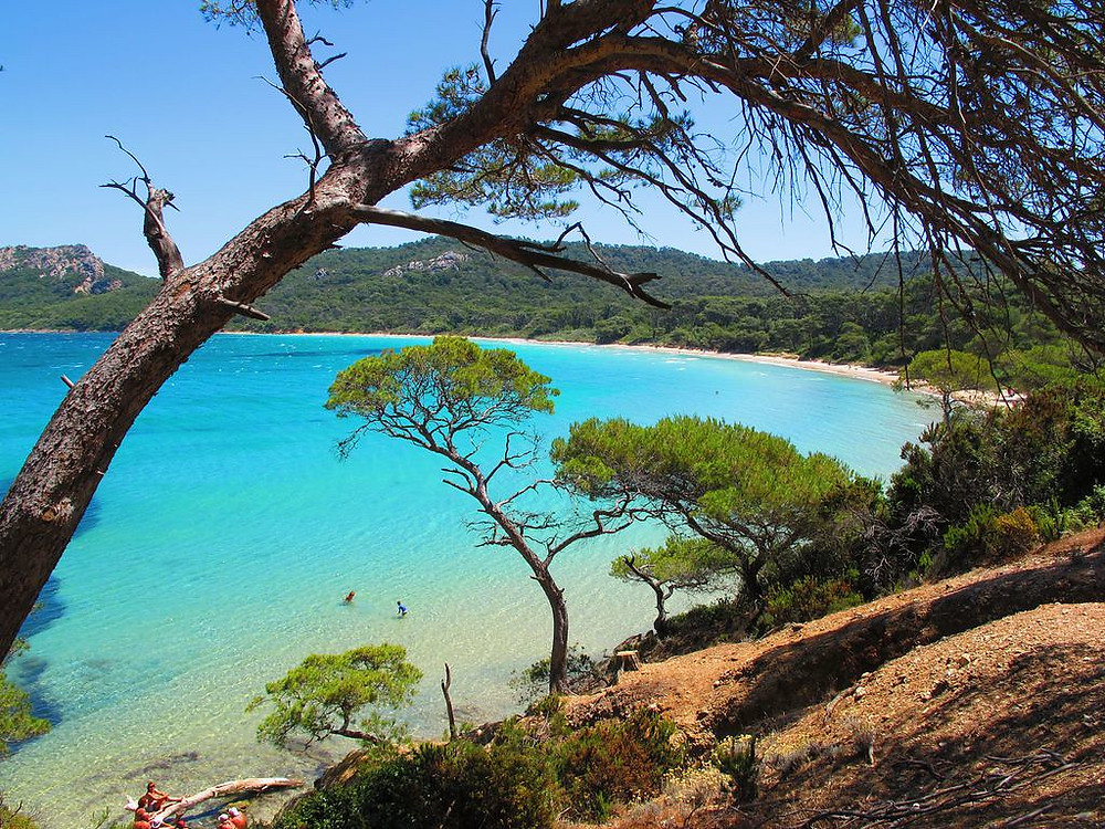 Plage de Notre Dame on Porquerolles Island in the French Riviera