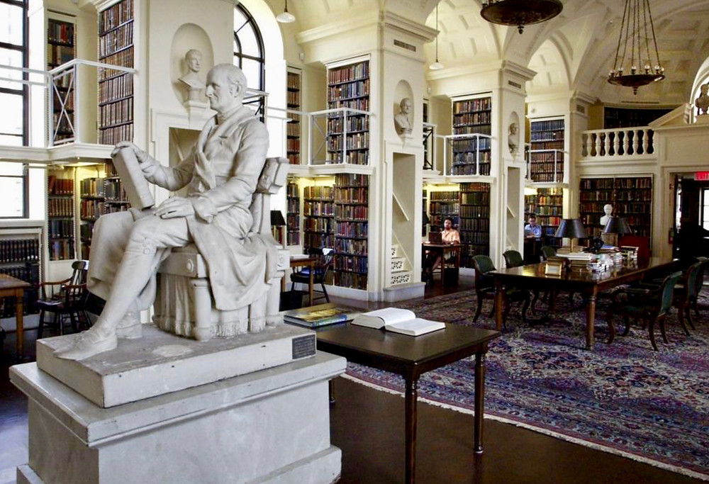 fifth floor reading room, with Robert Ball Hugh's sculpture of Nathaniel Bowditch