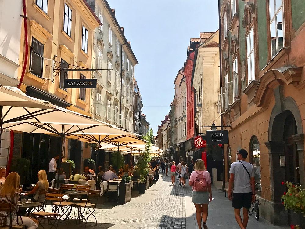 Ljubljana's main shopping and restaurant street