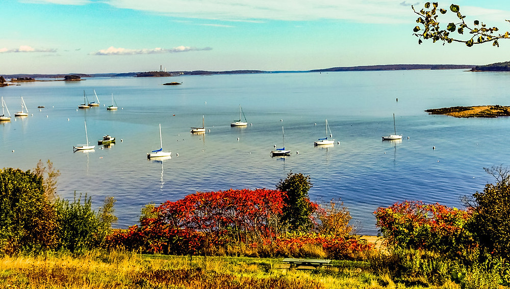 view of Casco Bay from the Eastern Promenade