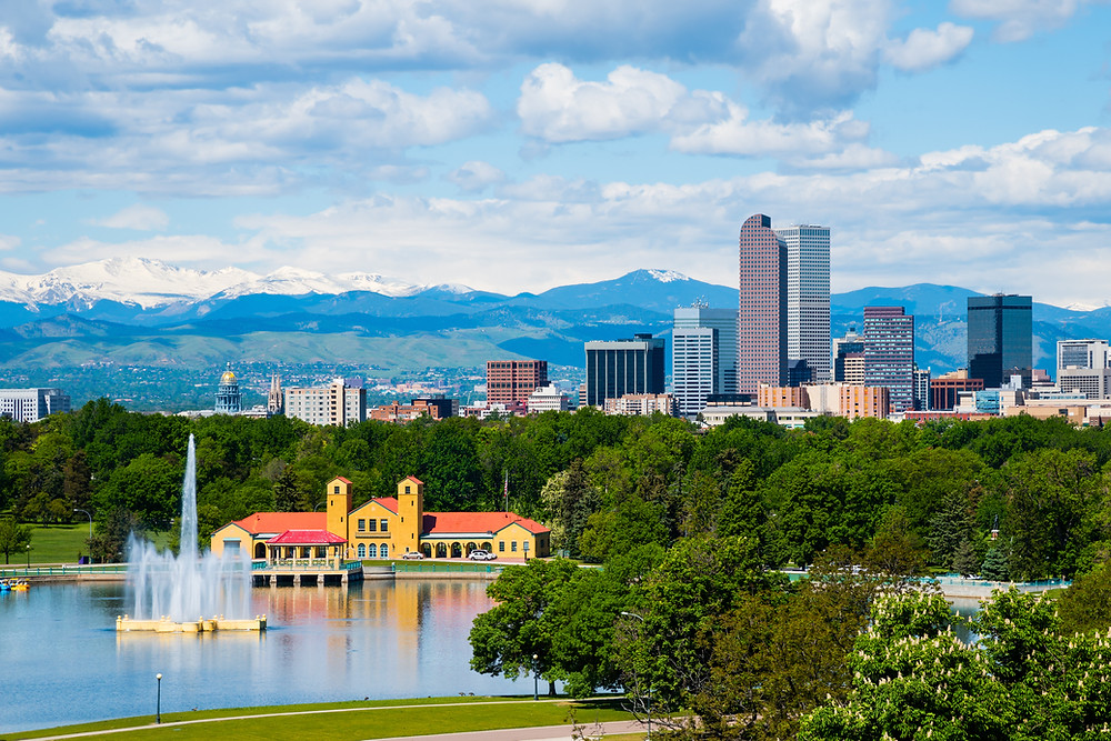 Ferril Lake with downtown Denver in the background