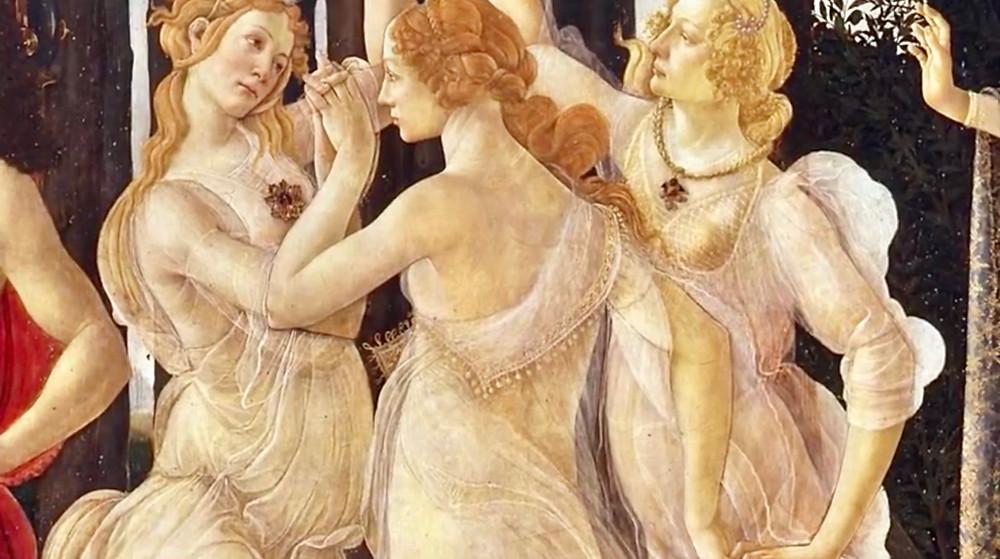 detail of the Three Graces in Botticelli's Primavera