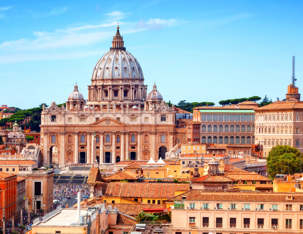 view of St. Peter's Basilica from Castle Sant'Angelo