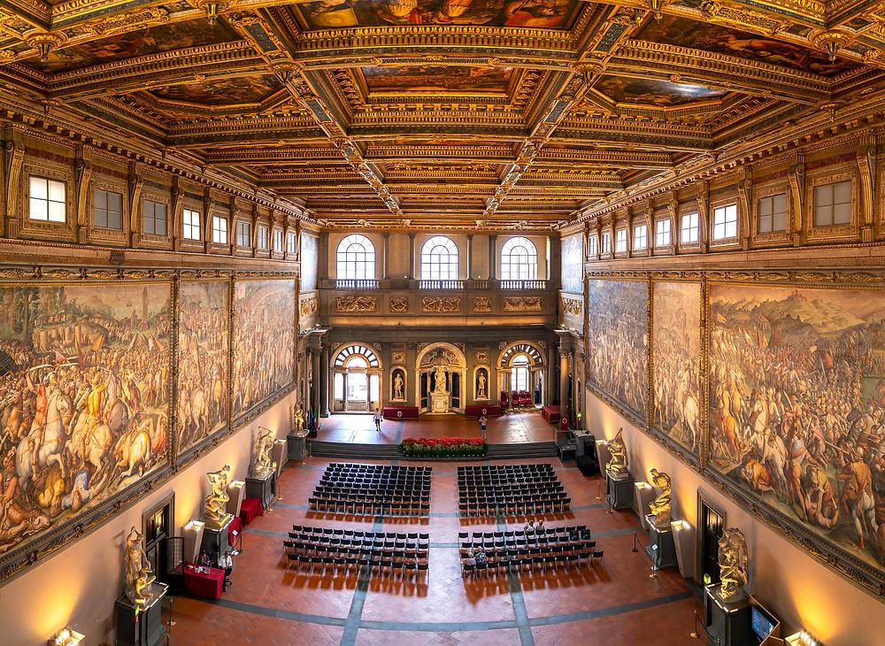 Hall of the Five Hundred in Palazzo Vecchio, with Giorgio Vasari frescos