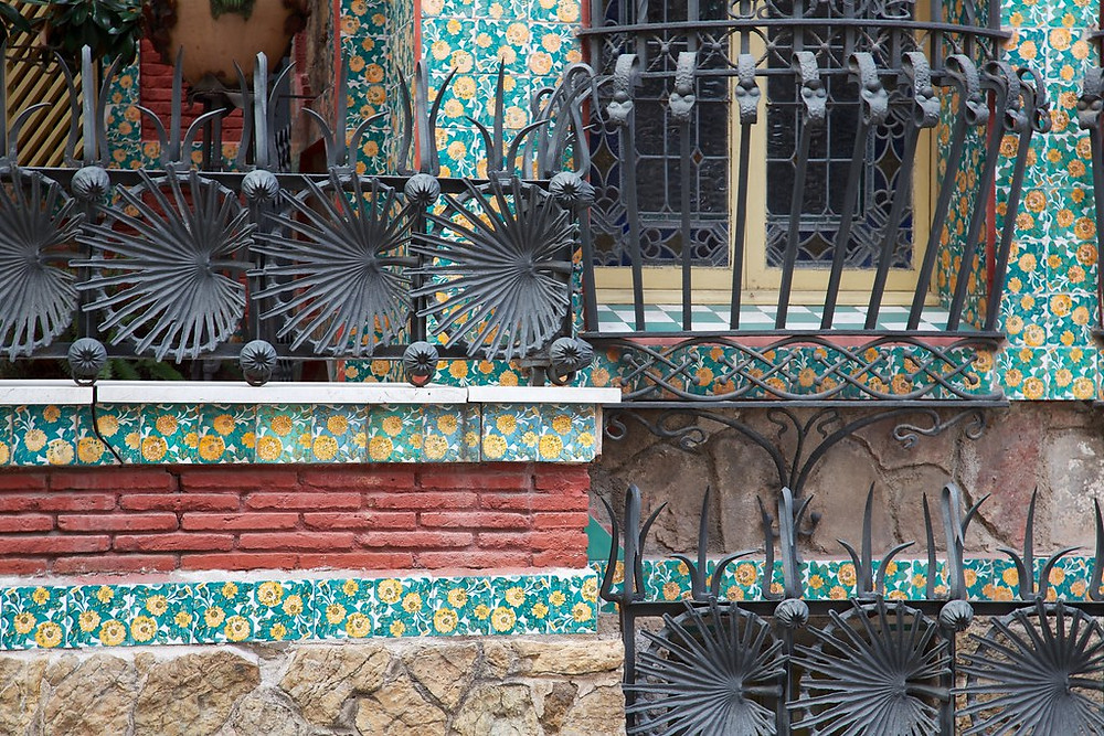 wrought iron balconies on Casa Vicens