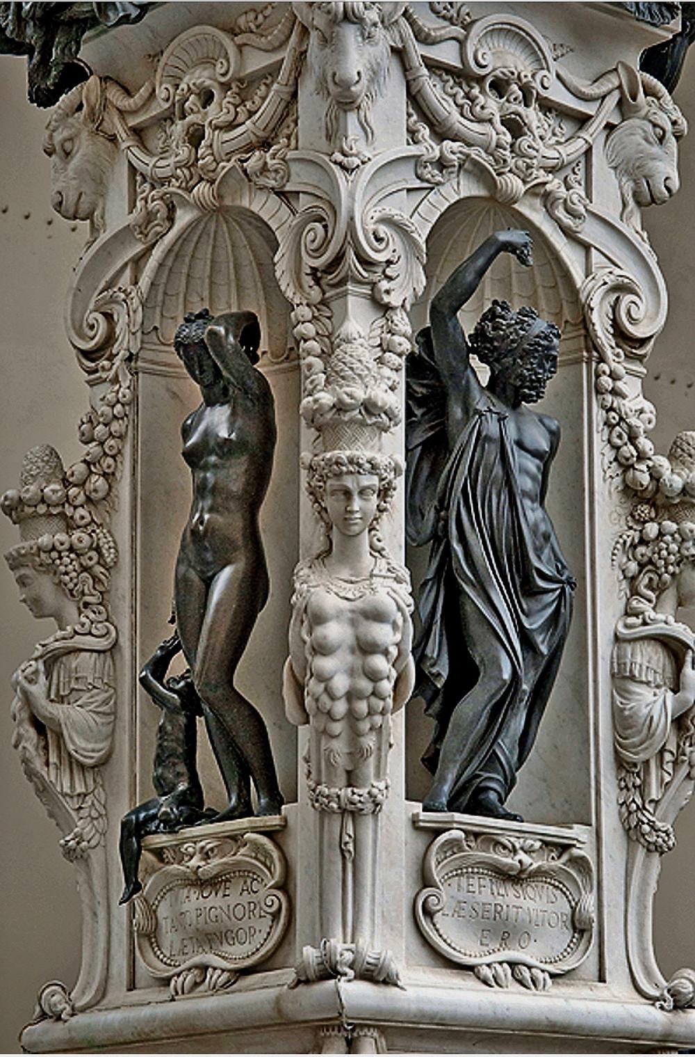 the original pedestal of Cellini's Perseus sculpture