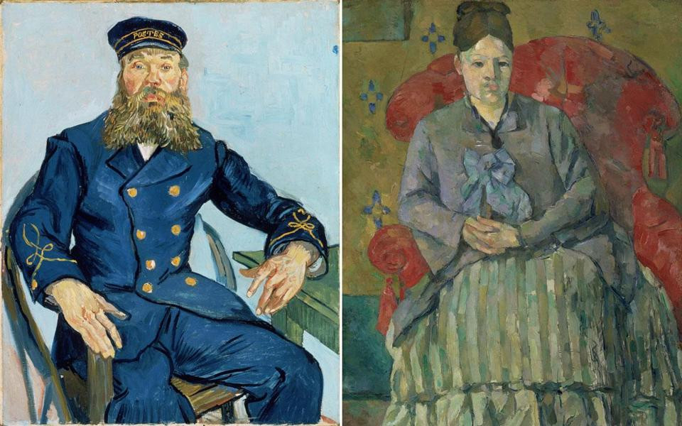 """Vincent van Gogh's """"Postman Joseph Roulin,'' and Paul Cezanne's """"Madame Cezanne in a Red Armchair''  at the Boston Museum of Fine Art"""